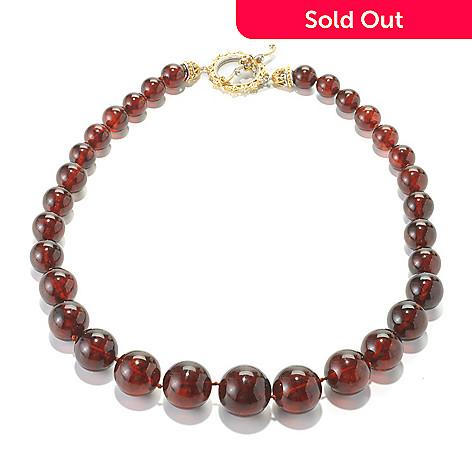 136-114 - Gems en Vogue 19'' Graduated Amber Bead & Citrine Toggle Necklace