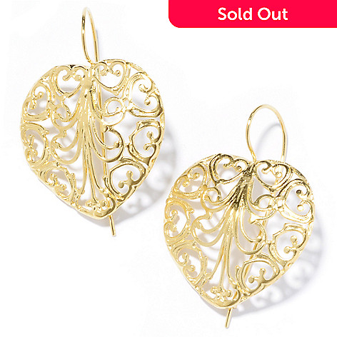 136-131 - Yam Zahav™ 18K Gold Embraced™ 1.75'' Polished Openwork Heart Drop Earrings