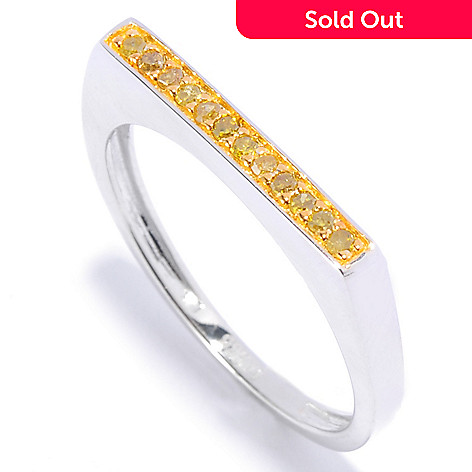 136-146 - Diamond Treasures® Sterling Silver 0.10ctw Fancy Color Diamond Flat Top Stack Band Ring