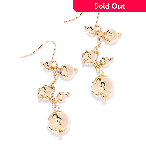 136-199 - Revalé™ 14K Bonded 2'' Polished Ball Dangle Earrings