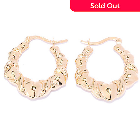136-200 - Revalé™ 14K Bonded 1'' Graduated Heart Hoop Earrings