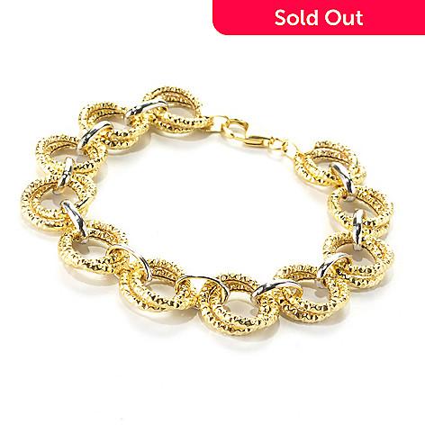 136-204 - Revalé™ 14K Bonded Two-tone 7.75'' Textured Circle Link Bracelet