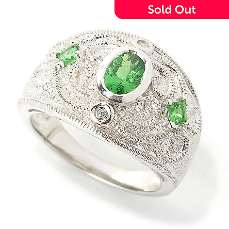 136-207 - Gem Treasures® Sterling Silver Tsavorite & White Zircon Textured Scrollwork Ring