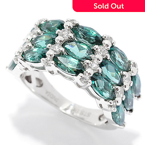 136-209 - NYC II™ 3.44ctw Marquise Shaped Teal Apatite & White Zircon Band Ring