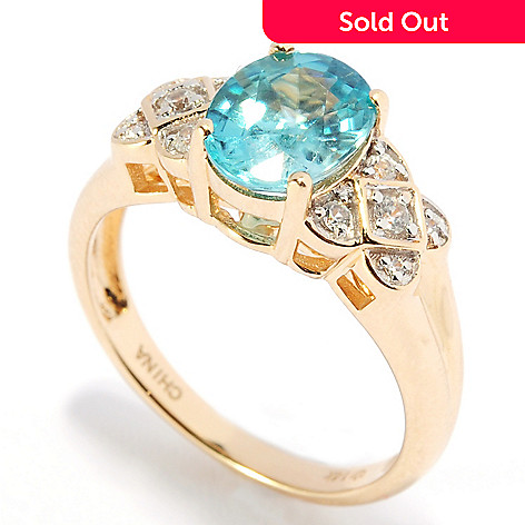 136-220 - Gem Treasures® 14K Gold 2.89ctw Blue & White Zircon Geometrical Ring