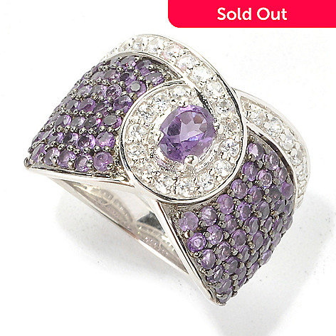 136-222 - Gem Treasures® Sterling Silver 2.14ctw Amethyst & White Zircon Ribbon Ring