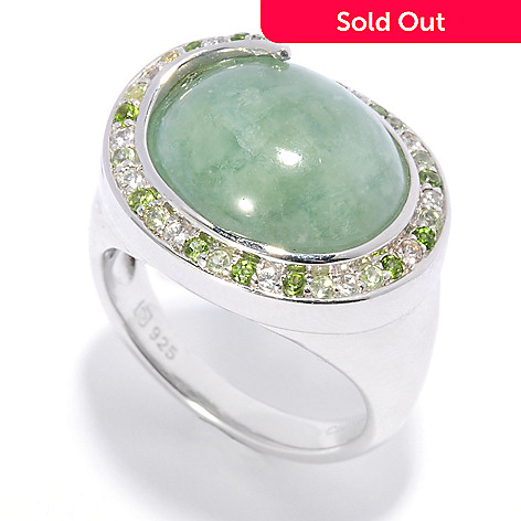 136-242 - Gem Insider™ Sterling Silver 14 x 12mm Jade & Multi Gemstone Swirl Halo Ring