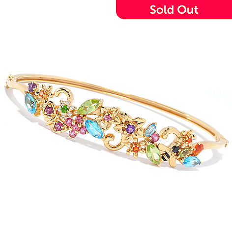 136-308 - NYC II™ 3.98ctw Multi Gemstone Flower Hinged Bangle Bracelet