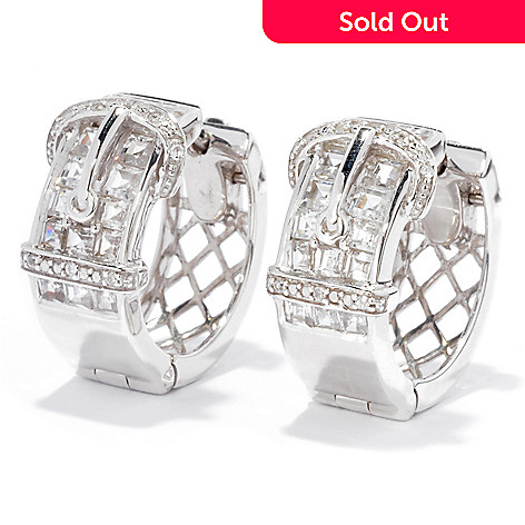 136-309 - NYC II® 3.25ctw Princess Cut White Zircon Buckle Hoop Earrings