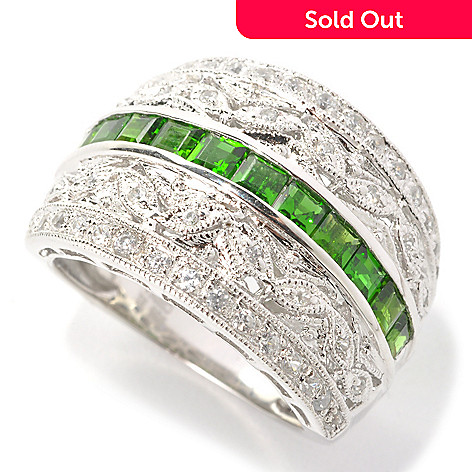 136-313 - NYC II 1.39ctw Chrome Diopside & White Zircon Filigree Wide Band Ring