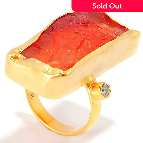 136-340 - Sattriya™ Rough Cut Freeform Gem & Simulated Diamond Elongated Ring