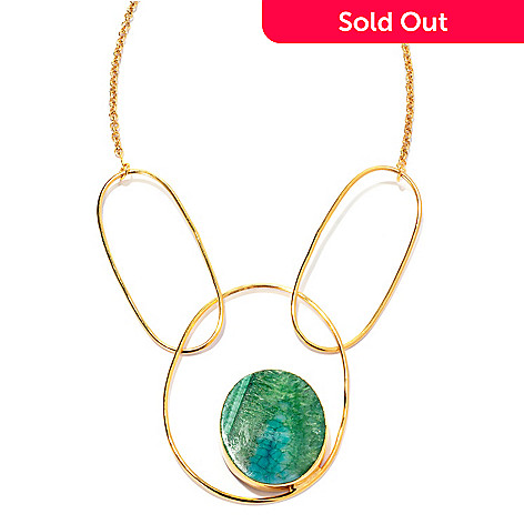136-348 - Sattriya™ 21'' 40 x 35mm Oval Drusy Agate Link Necklace w/ 2'' Extender