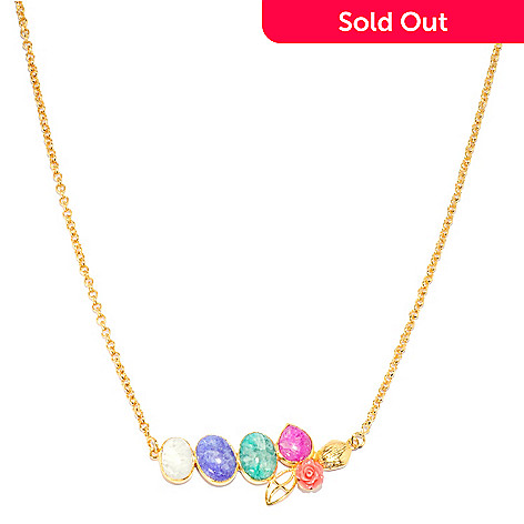 136-349 - Sattriya™ 25.5'' Oval & Pear Shaped Drusy Agate Four-Stone Flower Necklace