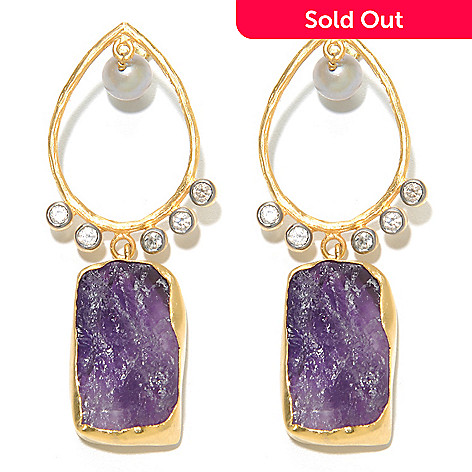 136-350 - Sattriya™ 2.5'' 8mm Grey Freshwater Cultured Pearl & Freeform Amethyst Dangle Earrings