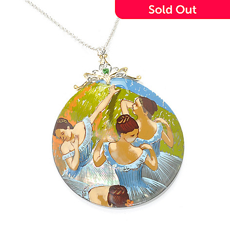 136-362 - Gems en Vogue II 60mm Hand-Painted Mother-of-Pearl ''Blue Dancers'' Pendant w/ Chain