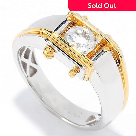 136-379 - Men's en Vogue Round Gemstone Screw Encased Polished Ring