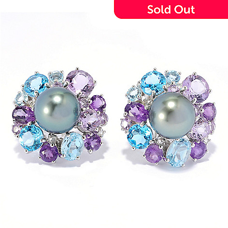 136-423 - Sterling Silver 12-13mm Tahitian Cultured Pearl & Gemstone Earrings w/ Omega Backs