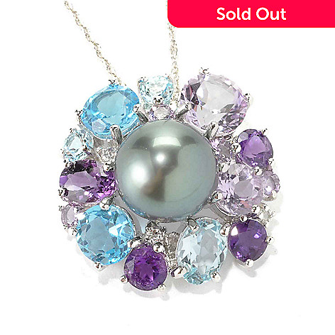 """136-424 - Sterling Silver 12-13mm Tahitian Cultured Pearl & Gemstone Halo Pendant w/ 18"""" Chain"""