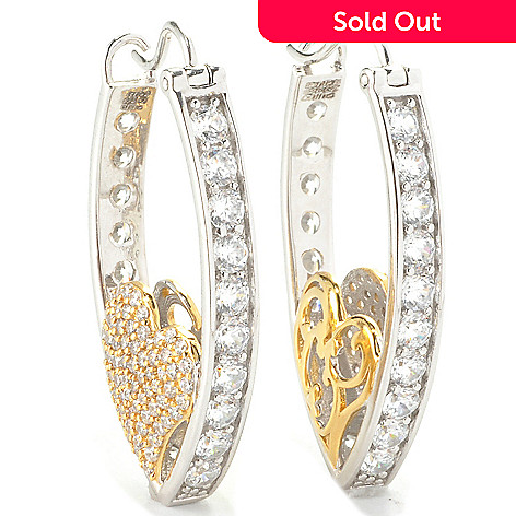 136-498 - Sonia Bitton 1.5'' Two-tone 5.70 DEW Simulated Diamond Marquise Shaped Hoop Earrings
