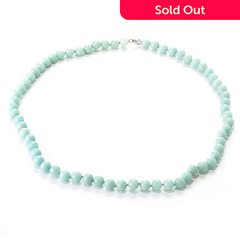 136-527 - Gem Treasures® Sterling Silver 34'' 12mm Amazonite Bead Necklace