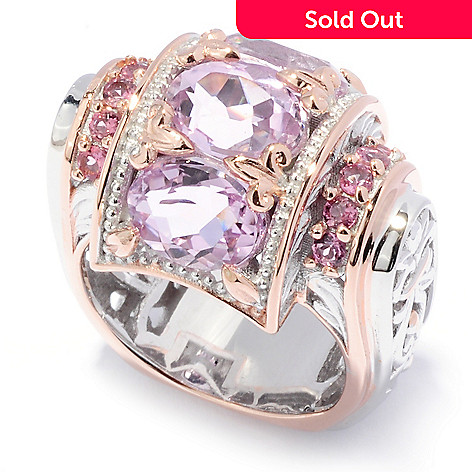 136-530 - Gems en Vogue 4.99ctw Oval Kunzite & Pink Tourmaline Barrel Top Ring