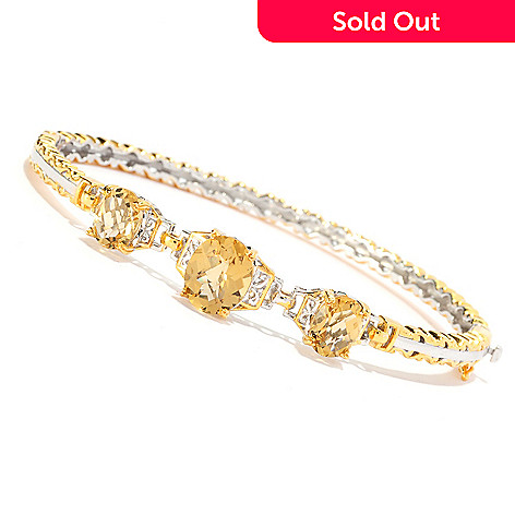 136-544 - Gems en Vogue 6.61ctw Oval Zambian Citrine Three-Stone Hinged Bangle Bracelet