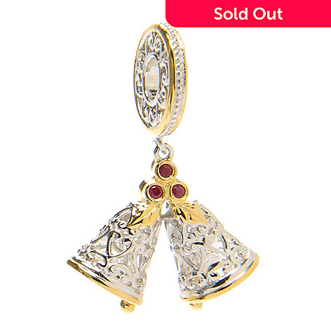 136-559 - Gems en Vogue II Round Ruby Double Bells Drop Charm