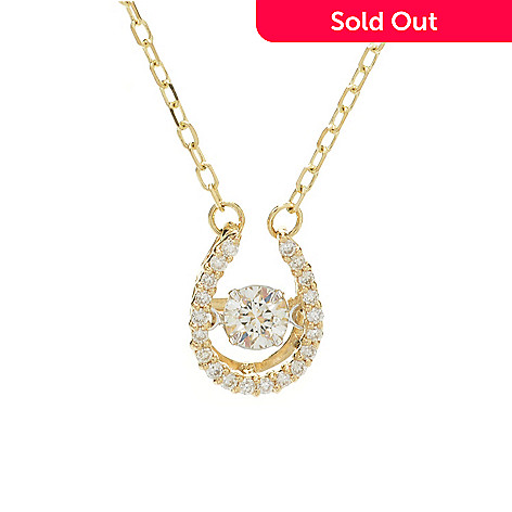 "136-583 - Beverly Hills Elegance® 14K Two-tone Gold Diamond Heartbeat Pendant w/ 18"" Chain"