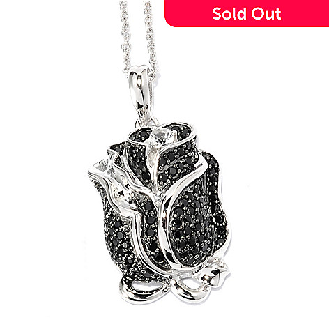 136-660 - NYC II™ White Zircon & Black Spinel Rose Pendant w/ 18'' Chain