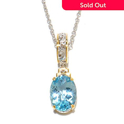 136-740 - Gems en Vogue 5.30ctw Checkerboard Cut Gemstone Charm Necklace