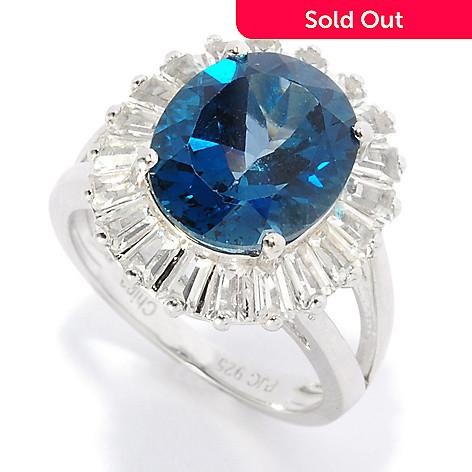 136-784 - Gem Insider Sterling Silver 7.50ctw London Blue Topaz & White Topaz Halo Ring