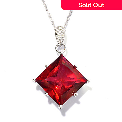 136-786 - NYC II™ 6.02ctw Princess Cut Exotic Quartz & Diamond Pendant w/ Chain