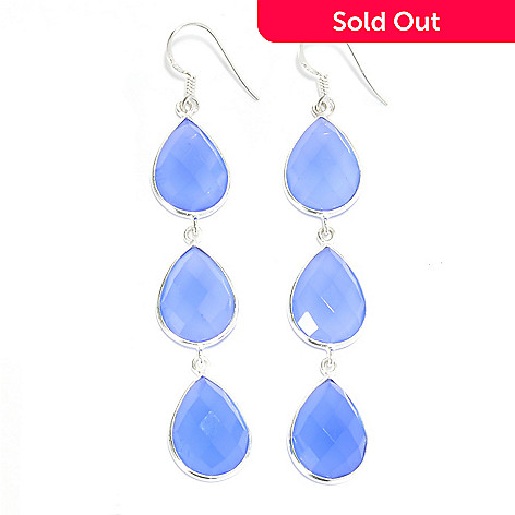 136-896 - Gem Treasures® Sterling Silver 3'' 16 x 12mm Chalcedony Triple Drop Earrings