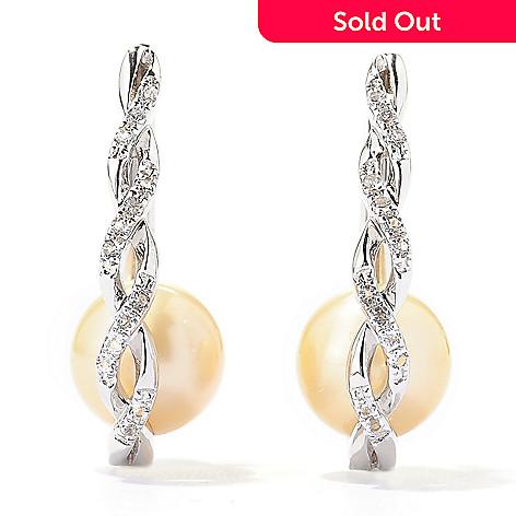 136-901 - Sterling Silver 1'' 9-10mm Golden South Sea Cultured Pearl & Topaz Hoop Earrings