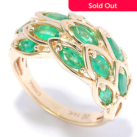136-945 - Gem Treasures® 14K Gold 1.23ctw Marquise Zambian Emerald Feathered Ring