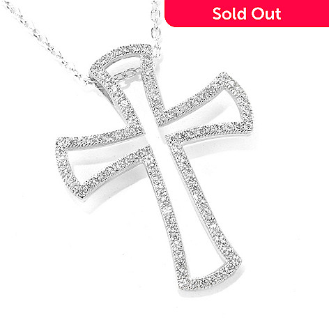 137-004 - Gem Treasures® Sterling Silver White Zircon Open Cross Pendant w/ 18'' Chain