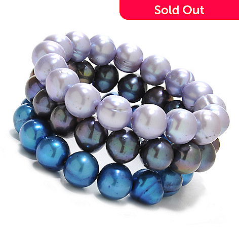 137-078 - Gem Treasures® Set of Three 11-12mm Cultured Freshwater Pearl Stretch Bracelets