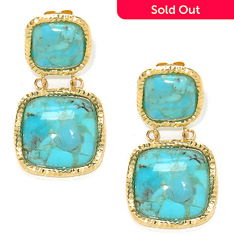 137-163 - Viale18K® Italian Gold 1.25'' 14mm Turquoise Diamond Cut Drop Earrings