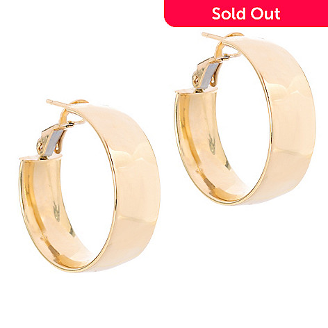 137-165 - Viale18K® Italian Gold 1'' Polished Hoop Earrings w/ Omega Backs