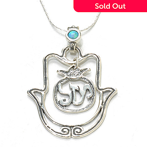 137-173 - Passage to Israel™ Sterling Silver 18'' Simulated Opal Hamsa ''Luck'' Necklace