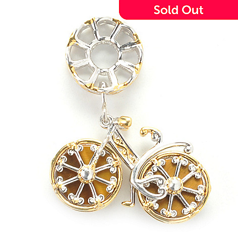 137-320 - Gems en Vogue Tiger's Eye Spinning Wheel Bicycle Drop Charm