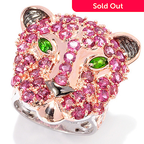 137-382 - Gems en Vogue 4.14ctw Pink Tourmaline & Chrome Diopside Panther Ring