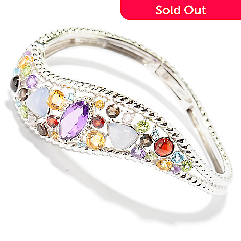 137-389 - Gem Insider® Sterling Silver 7'' 10.35ctw Multi Gem Wave Cuff Bracelet