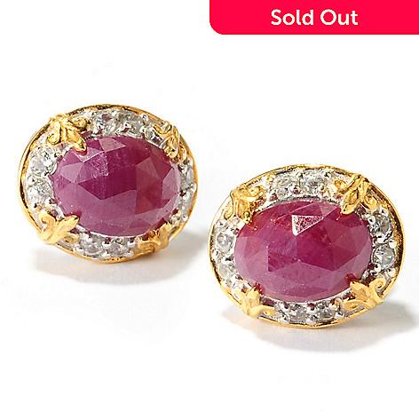 137-448 - Gems en Vogue 3.58ctw Ruby & White Zircon Stud Earrings