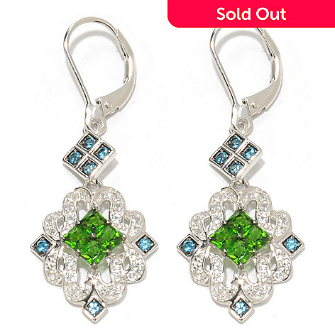 137-464 - Gem Insider™ Sterling Silver 1.75'' 1.88ctw Chrome Diopside & Multi Gem Earrings