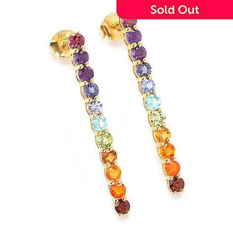 137-480 - NYC II™ 1.5'' 2.04ctw Multi Gemstone Exotic Rainbow Line Drop Earrings