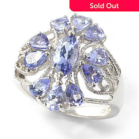 137-499 - Gem Treasures® Sterling Silver 1.89ctw Marquise & Pear Shaped Tanzanite Ring