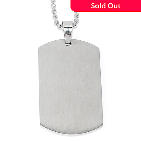 137-538 - Steel Impact™ Men's Stainless Steel Tag Pendant w/ 24'' Ball Chain