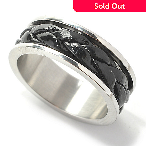137-541 - Steel Impact Men's Stainless Steel & Braided Leather Band Ring