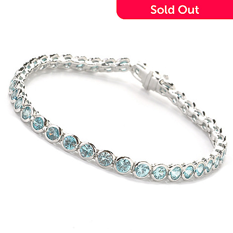 137-670 - Gem Treasures® Sterling Silver 11.32ctw Round Fancy Color Zircon Link Bracelet